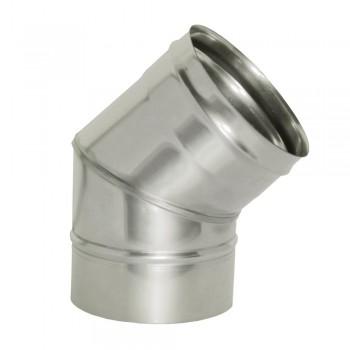 Отвод 45 градусов для трубы D 200 мм, ДМК, нержавеющая сталь AISI 439 0,5 мм
