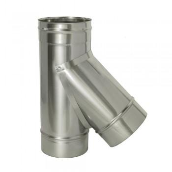Тройник 45 градусов для трубы D 200 мм, ДМК, нержавеющая сталь AISI 439 0,5 мм