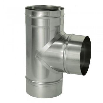 Тройник 90 градусов для трубы D 200 мм, ДМК, нержавеющая сталь AISI 439 0,5 мм