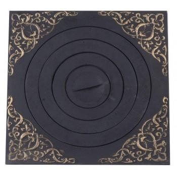 Плита печная ПК07, 520х520 мм, под казан с рисунком, с патиной, Технолит, Печное литье купить в Санкт-Петербурге,