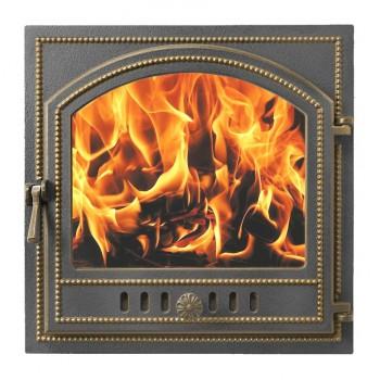 Дверца каминная В205Б, бронза, со стеклом, 495х495 мм, Везувий, Печное литье купить в Санкт-Петербурге,