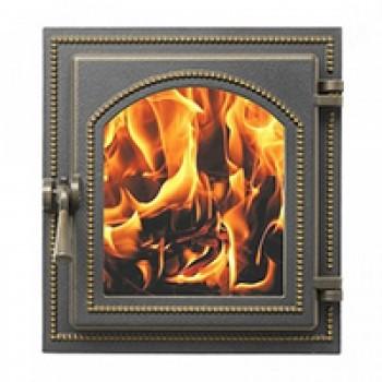 Дверца каминная В270Б, бронза, со стеклом, Везувий, Печное литье купить в Санкт-Петербурге,