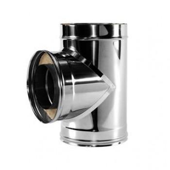 Тройник для труб сэндвич 90° D 200/300 мм, изоляция 50 мм, нержавеющая сталь AISI 321/304