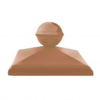 Клинкерный колпак ZG Clinker C57 дуб с шаром, 570х570 мм, для столба забора