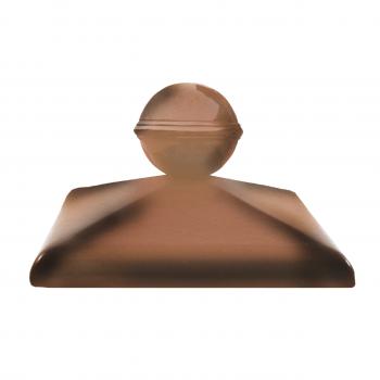 Клинкерный колпак ZG Clinker C57 каштановый с шаром, 570х570 мм, для столба забора