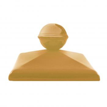 Клинкерный колпак ZG Clinker C57 желтый с шаром, 570х570 мм, для столба забора