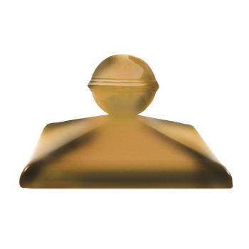 Клинкерный колпак ZG Clinker C57 желтый тушевой с шаром, 570х570 мм, для столба забора